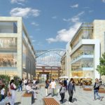 Brent Cross Main Square, showing the new environment and transparent canopy which will cover the new streets and spaces